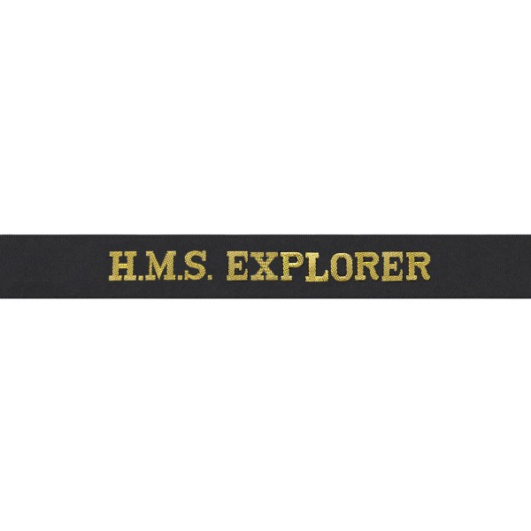 HMS Explorer - Royal Navy Cap Tally