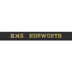 HMS Hurworth Cap Tally - Royal Navy