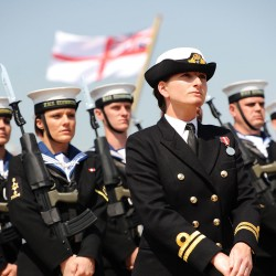 Sailors from HMS Edinburgh on parade at the decommisioning ceremony for the Royal Navy\'s last Type 42 destroyer.