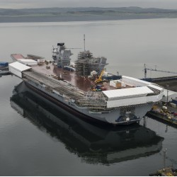 HMS Queen Elizabeth under construction  at Rosyth Dockyard Scotland ahead of its imminent launch.